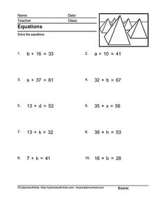 Equations: Use Subtraction Worksheet