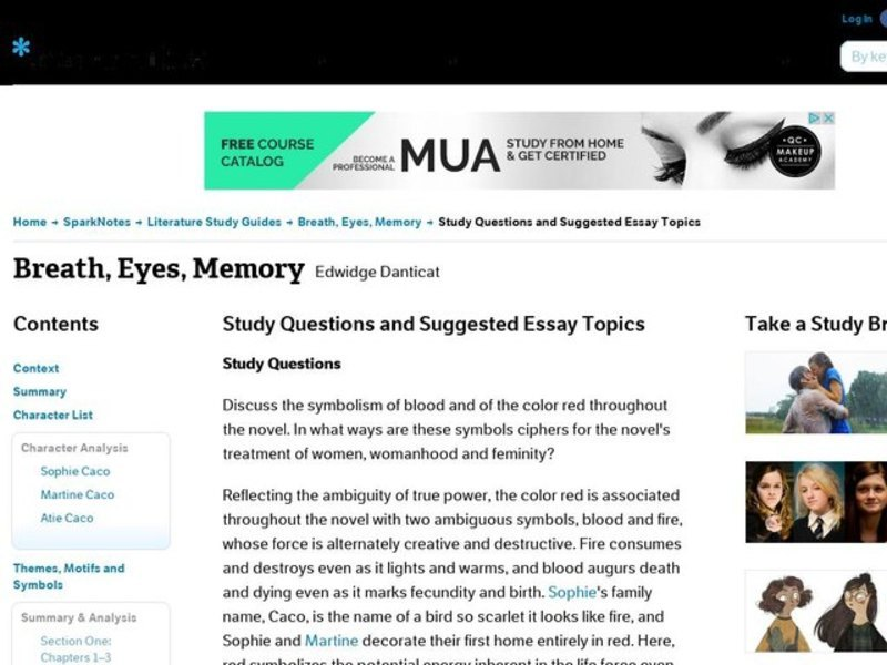 breath eyes memory essay