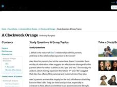 clockwork orange lesson plans worksheets reviewed by teachers a clockwork orange study questions essay topics