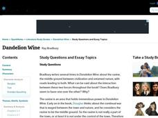 essay questions - dandelion wine Study guide for dandelion wine dandelion wine study guide contains a biography of ray bradbury, literature essays, quiz questions, major themes, characters, and a.