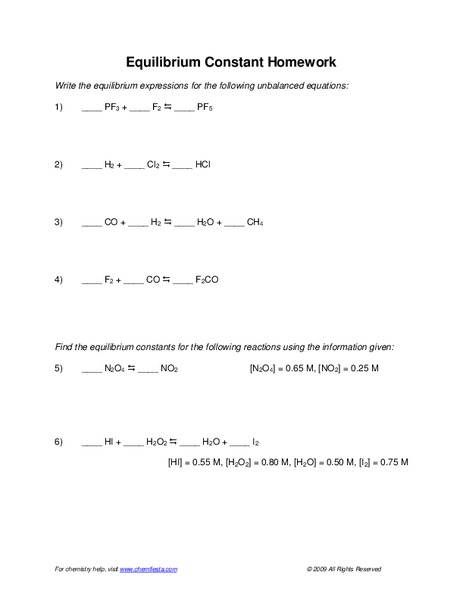 Equilibrium Constant Worksheet for 10th - 12th Grade