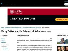 Harry Potter and the Prisoner of Azkaban Study Questions Interactive