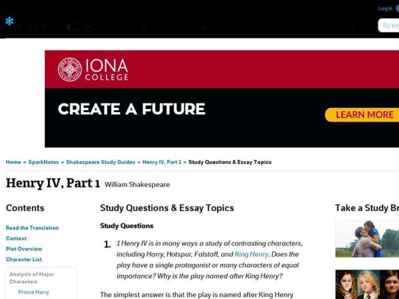 henry iv part essay topics