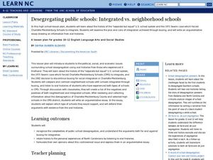 Desegregating Public Schools: Integrated vs. Neighborhood Schools Lesson Plan