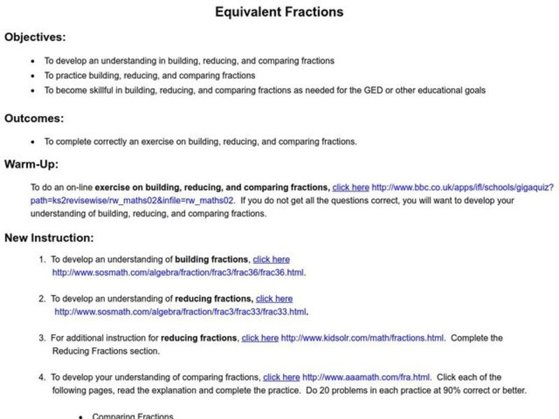 Equivalent Fractions Lesson Plan