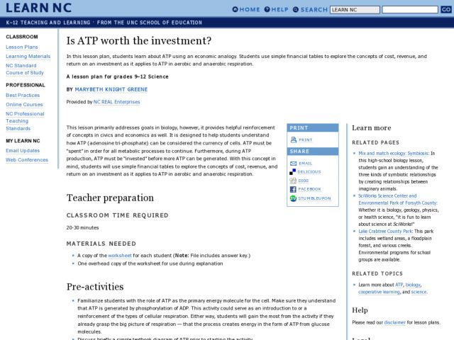 Is ATP Worth the Investment 9th 12th Grade Lesson Plan – Atp Worksheet