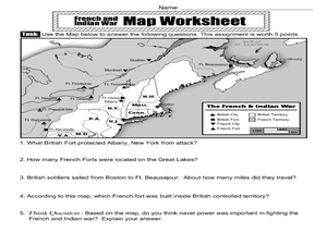 The French and Indian War Map Activity 4th - 5th Grade Worksheet ...