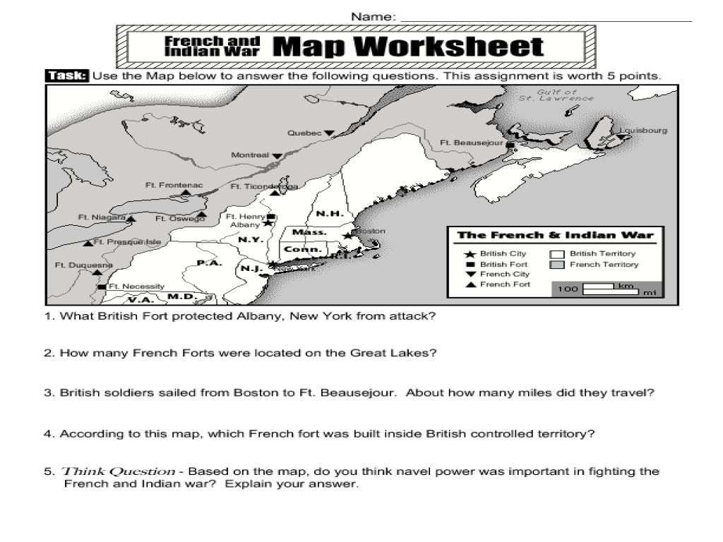 Worksheets French And Indian War Worksheet the french and indian war map activity 4th 5th grade worksheet lesson planet