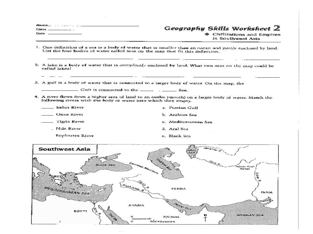 Geography Skills Worksheet Civilizations and Empires in Southwest – Middle School Geography Worksheets