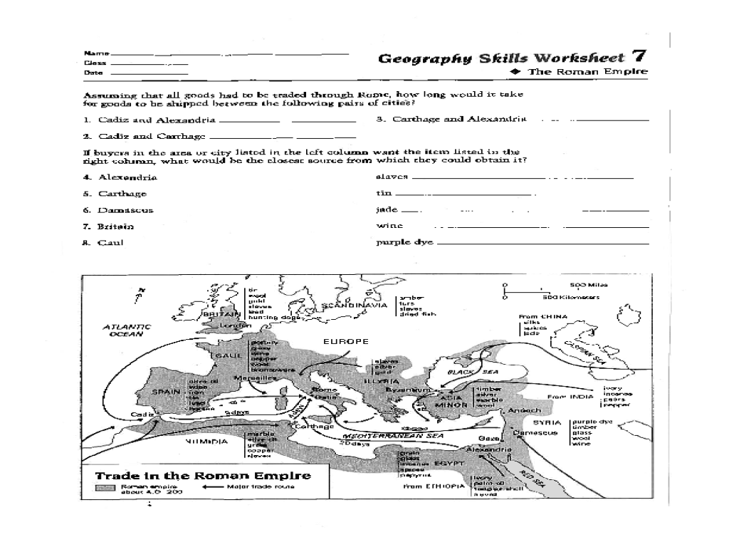 Geography Skills Worksheet The Roman Empire Worksheet For