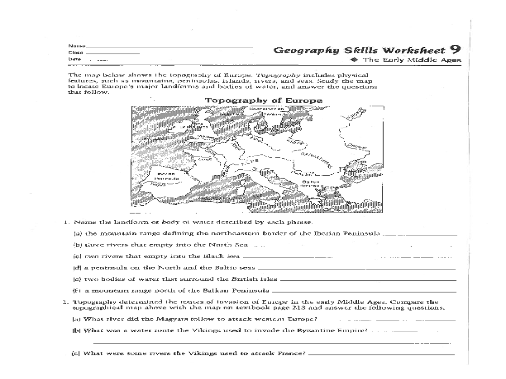 Geography Skills Worksheet The Early Middle Ages Worksheet for