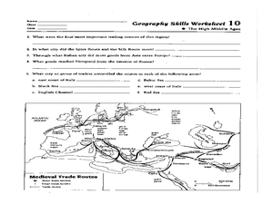 Geography Skills Worksheet: High Middle Ages Worksheet for