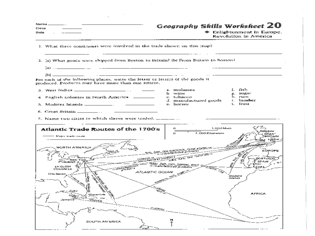 Geography Skills Worksheet Enlightenment In Europe