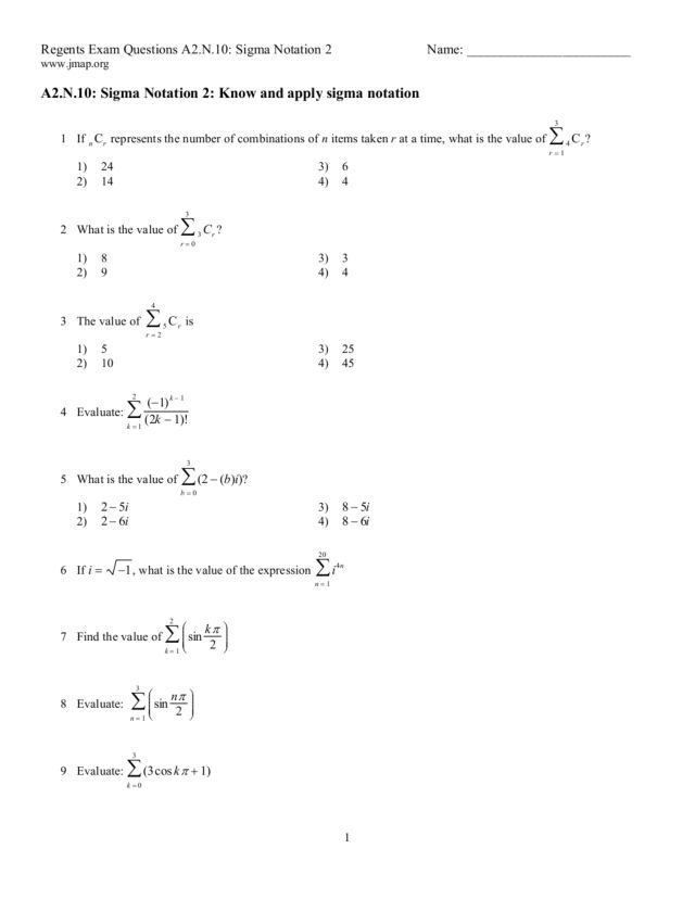 Sigma Notation Worksheet Letravideoclip – Sigma Notation Worksheet