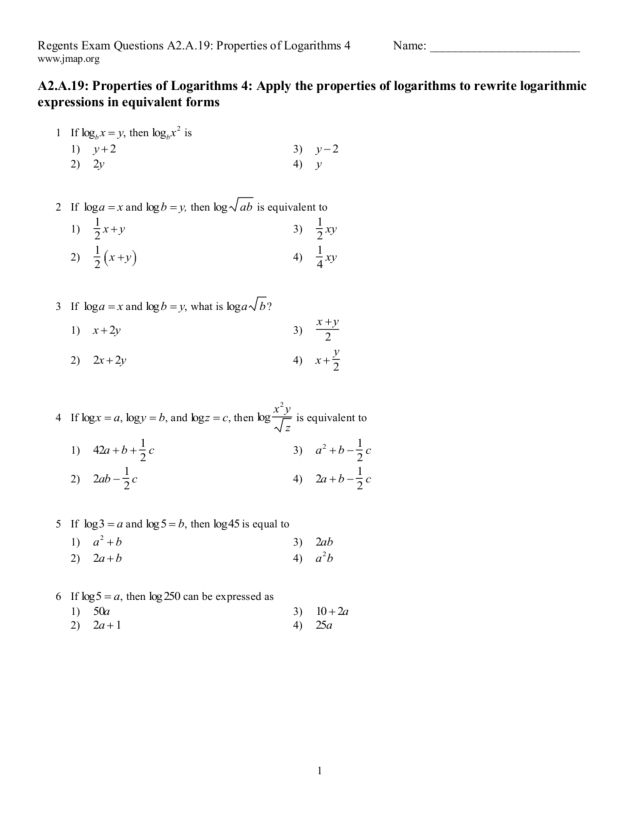 Regents Exam Questions Properties of Logarithms 4 10th 12th – Logarithm Properties Worksheet