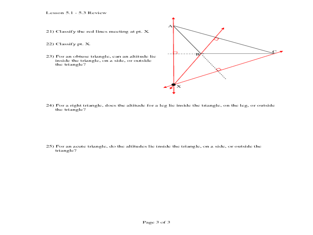 Special Segments is a Triangle 10th Grade Worksheet – Special Segments in Triangles Worksheet