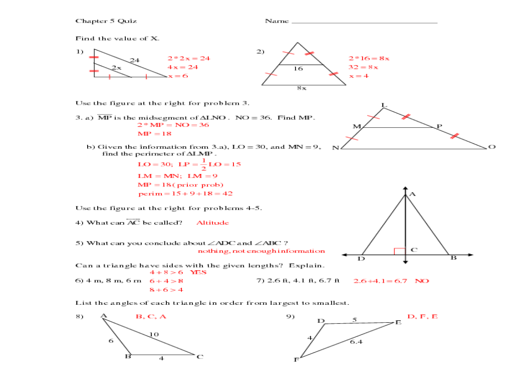 Value Of Triangles Worksheet For 9th 10th Grade Lesson
