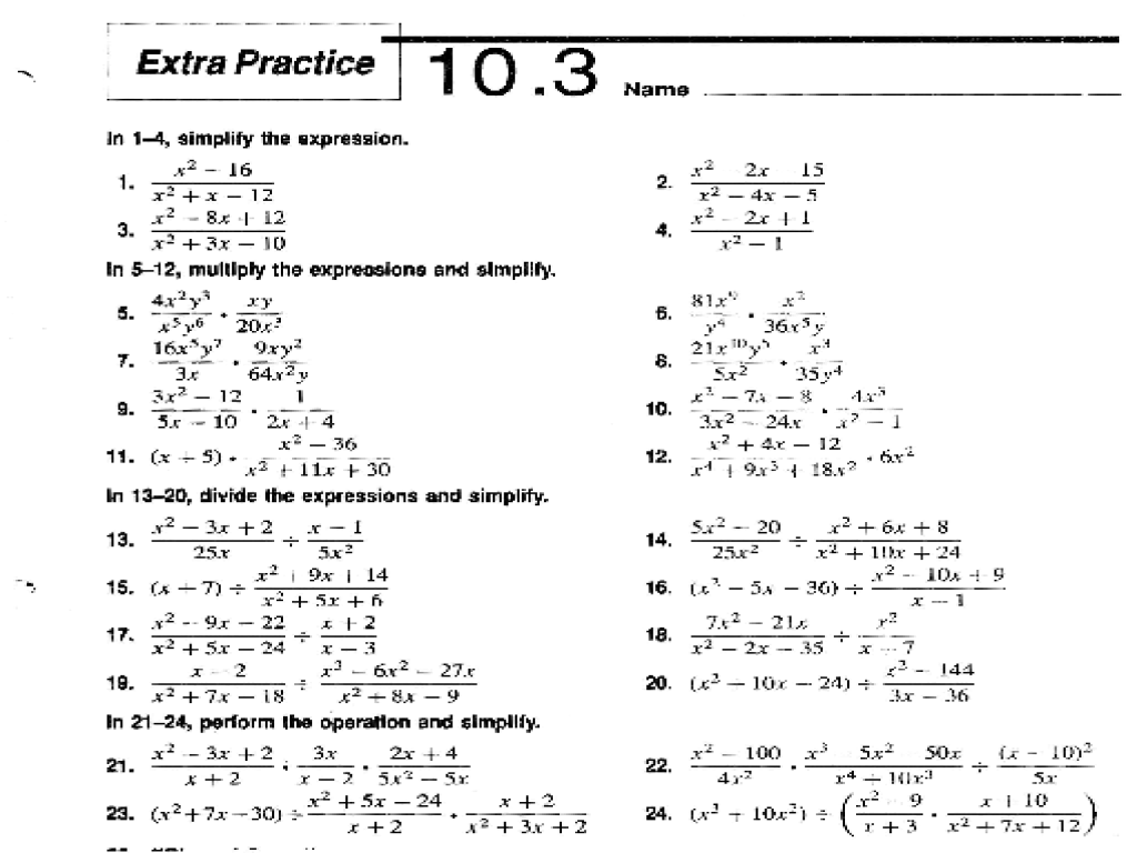 Extra Practice 103 Dividing Polynomials 9th 11th Grade – Long Division of Polynomials Worksheet