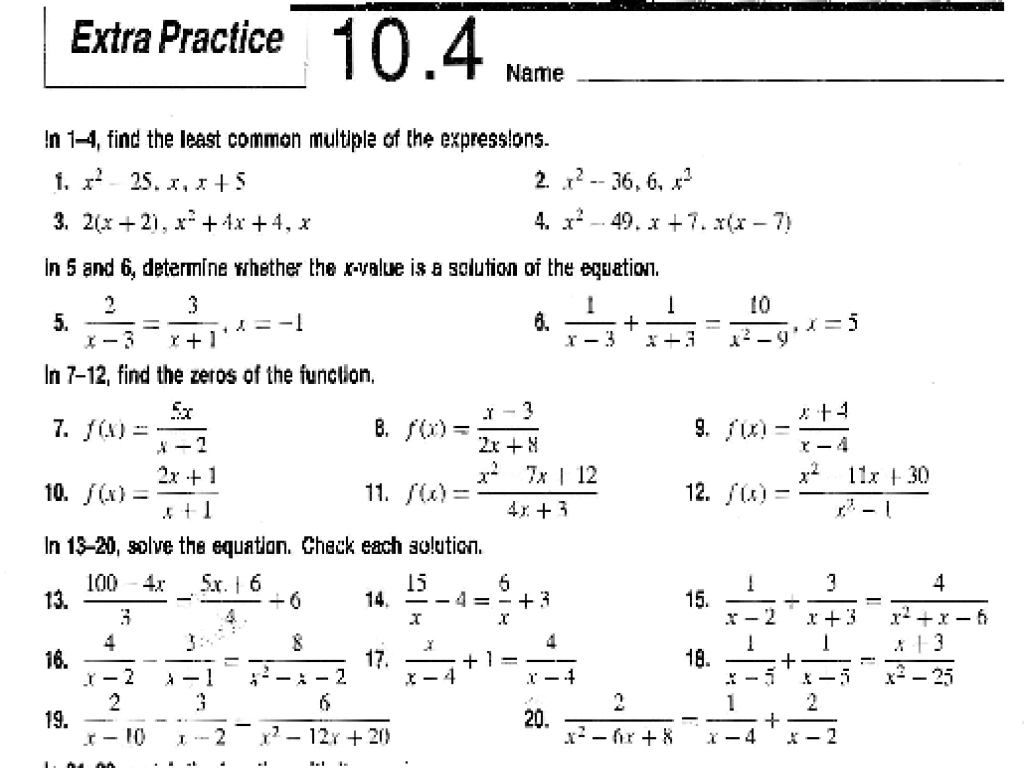 Extra Practice 10 4 Solving Rational Equations Worksheet For 8th