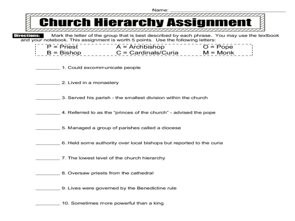 church hierarchy assignment 6th 8th grade worksheet lesson planet