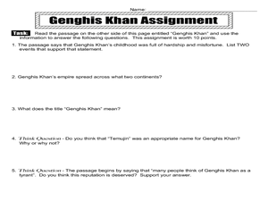 Genghis Khan Worksheet