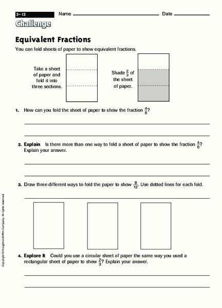 paper folding fractions lesson plans worksheets. Black Bedroom Furniture Sets. Home Design Ideas