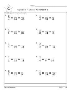 Equivalent Fractions 2 Worksheet