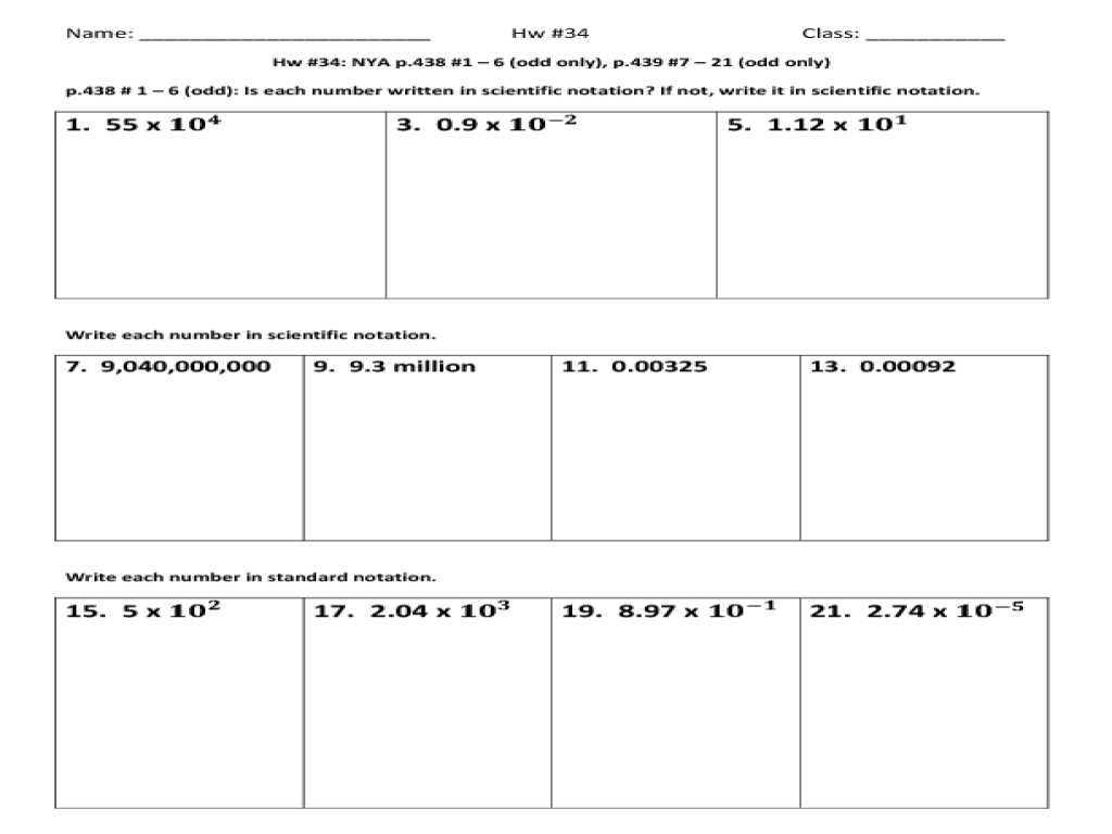 convert scientific and standard notation worksheet for 6th