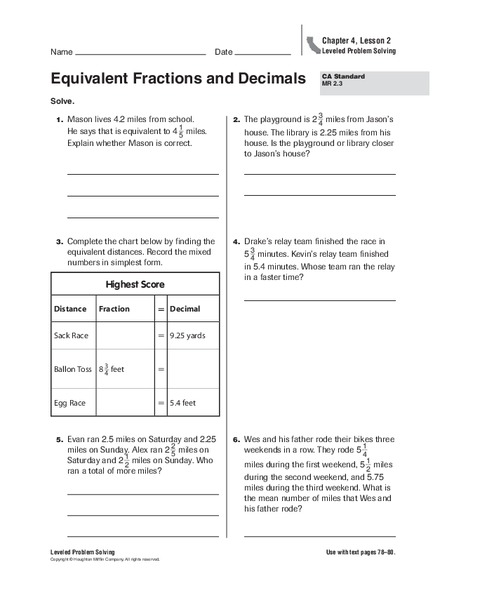 Equivalent Fractions and Decimals Worksheet