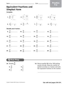 Equivalent Fractions and Simplest Form Worksheet