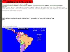 South America and Central America Capitals Map Quiz Interactive for ...