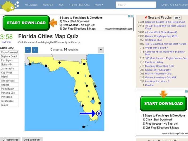 Florida Cities Map.Florida Cities Map Quiz Interactive For 6th 12th Grade Lesson Planet