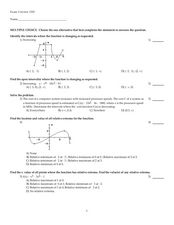 Sixteen Multiple Choice Calculus Extrema Problems Worksheet