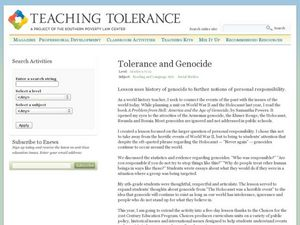 Tolerance and Genocide Lesson Plan