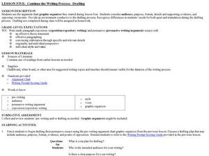Continue the Writing Process:  Drafting Lesson Plan