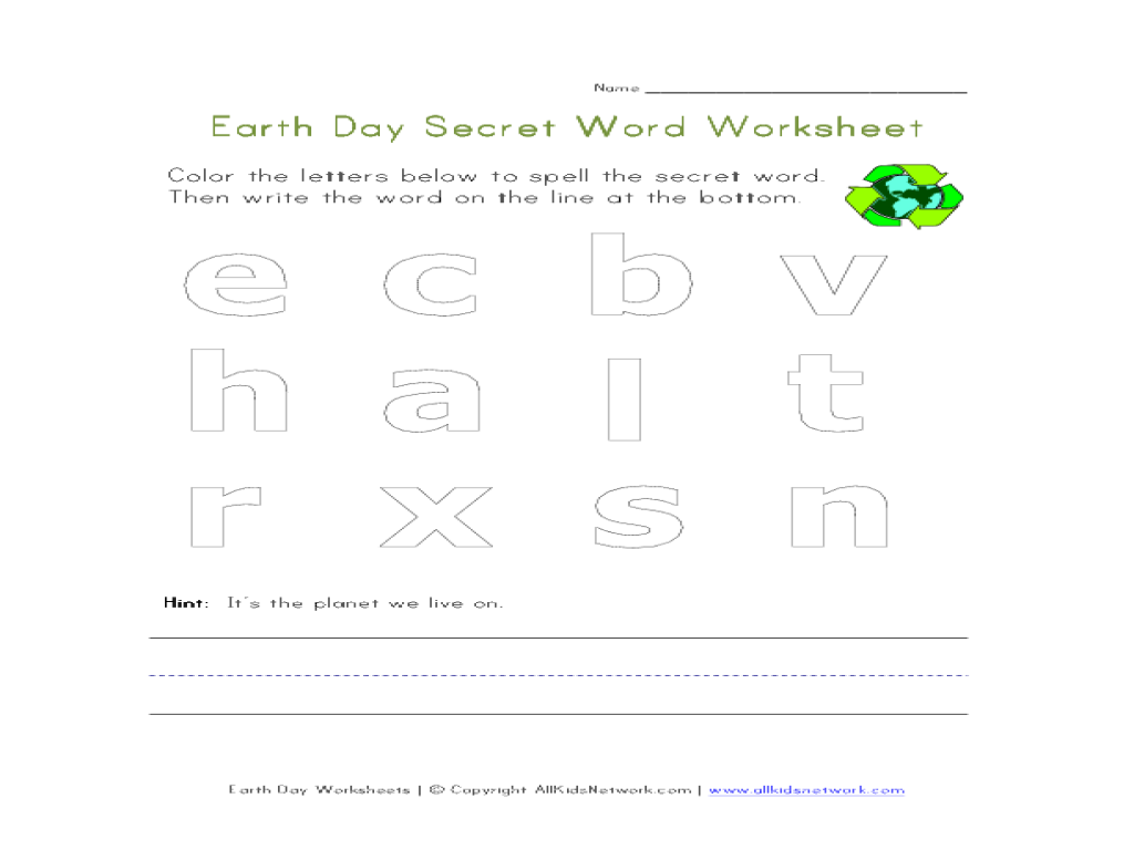Earth Day Secret Word Worksheet Worksheet