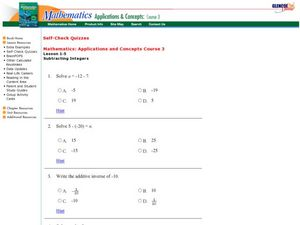 Lesson 1-5 Subtracting Integers Worksheet