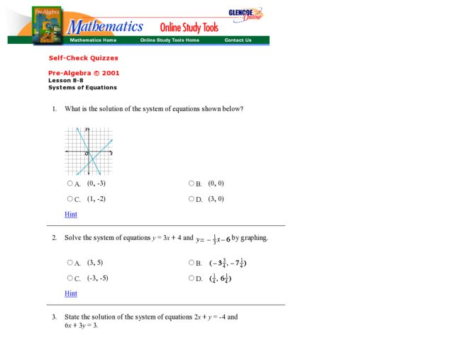Solving Systems Of Equations Quiz - Talkchannels