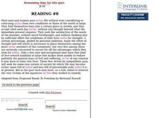 Comprehension Cloze Passages Lesson Plans & Worksheets