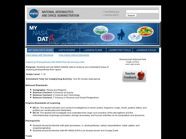 Exploring Photosynthesis with NASA Remote Sensing Data Lesson Plan
