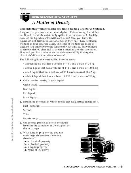 Reinforcement composition of matter worksheet answers