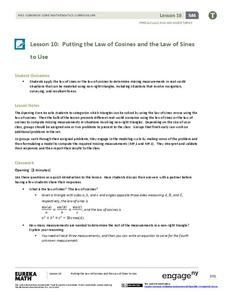 Putting the Law of Cosines and the Law of Sines to Use Assessment
