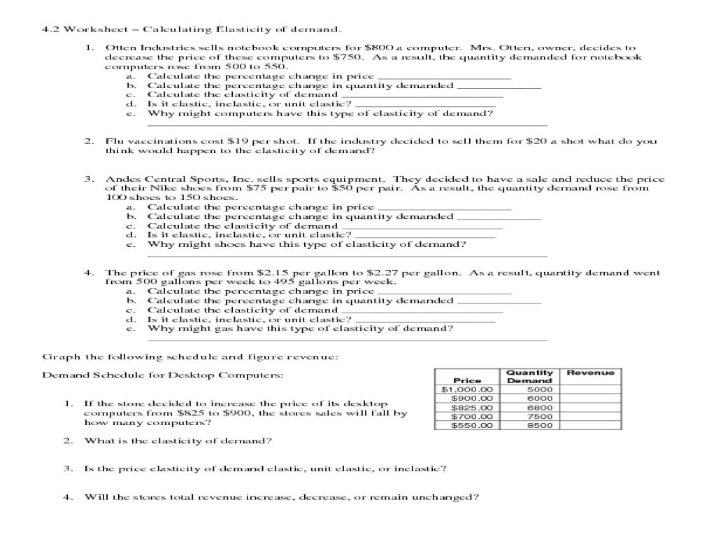 Calculating Elasticity of Demand 10th 12th Grade Worksheet – Elasticity of Demand Worksheet