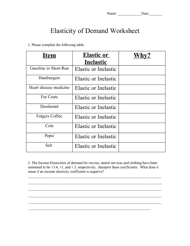 Elasticity of Demand Worksheet 11th 12th Grade Worksheet – Elasticity of Demand Worksheet