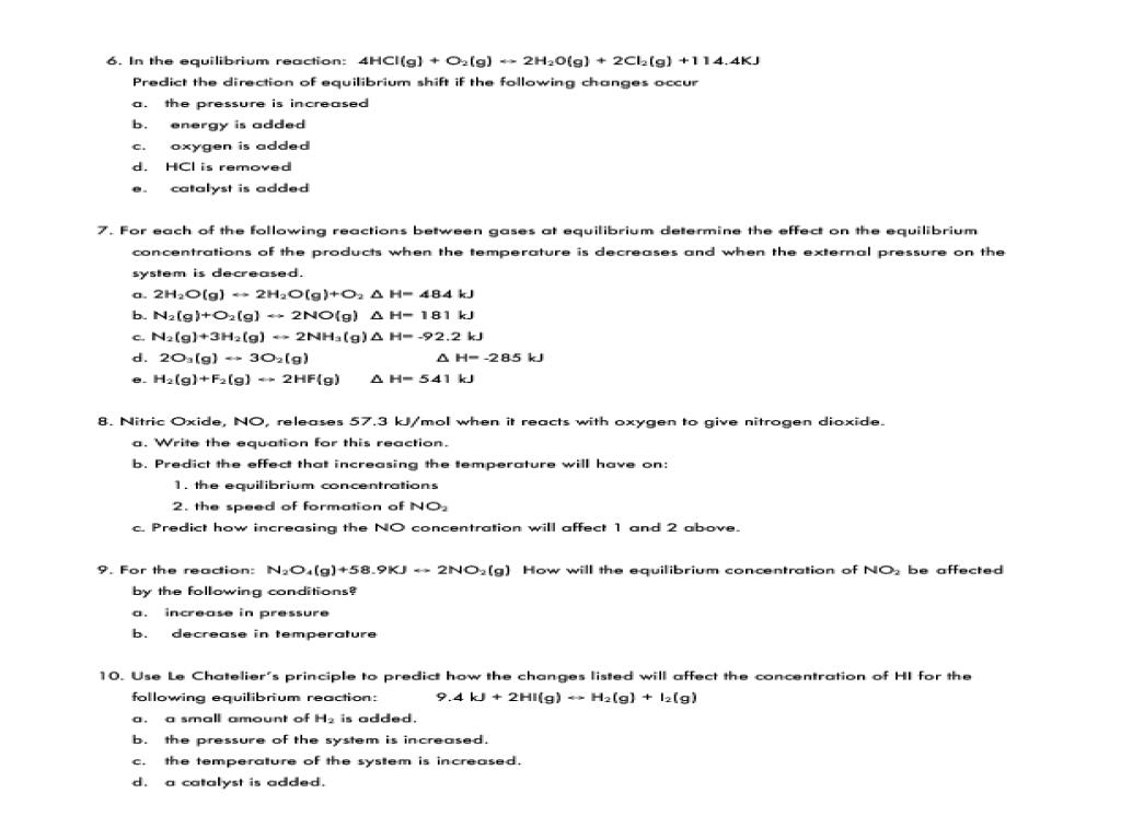 Worksheets Chemical Equilibrium Worksheet chemical equilibrium worksheet 1 11th 12th grade lesson planet