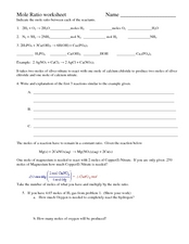 Mole Ratio Worksheet 10th - 12th Grade Worksheet | Lesson Planet