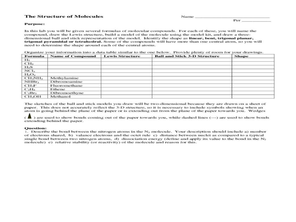 The Structure of Molecules Lab Activity Worksheet