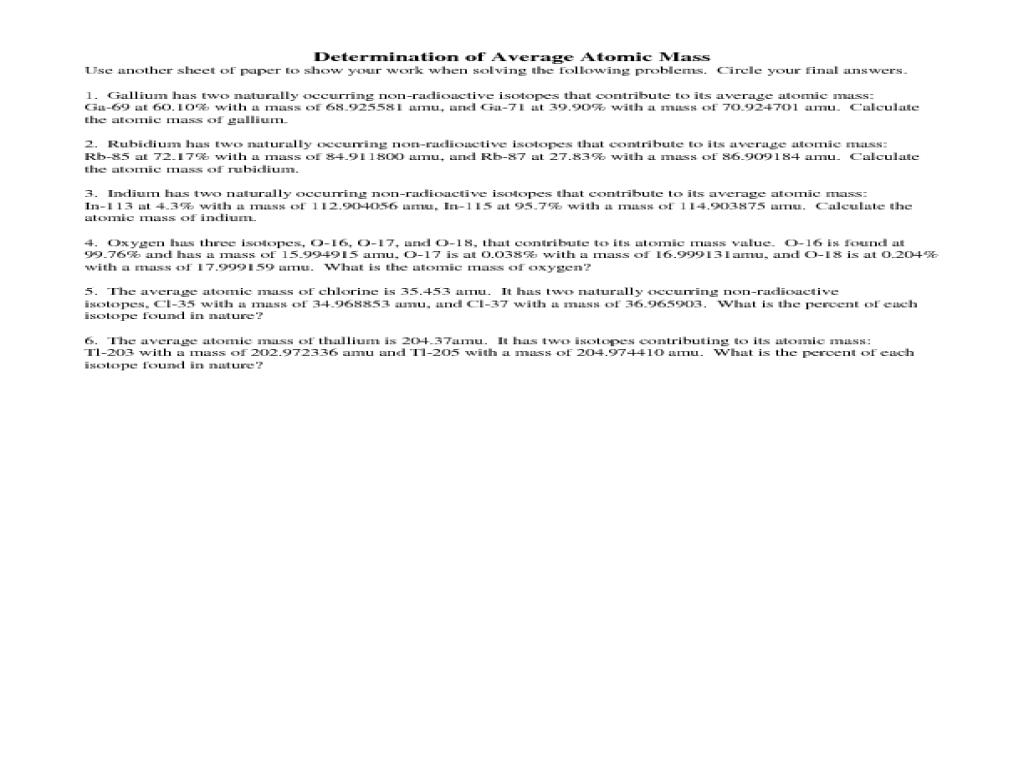Determination Of Average Atomic M Worksheet