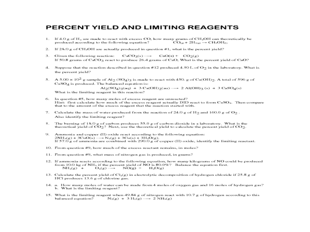 Stoichiometry Percent Yield and Limiting Reagents practice – Limiting Reactant Problems Worksheet