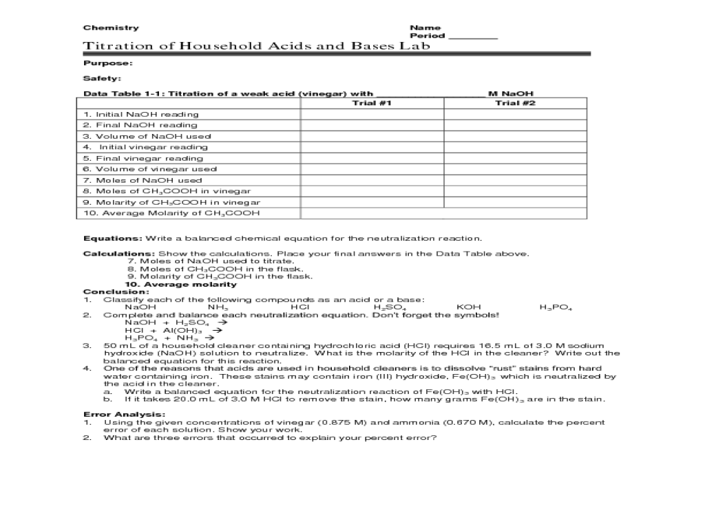 Worksheet Acid Bases Experiment worksheet acid bases experiment – Acid Base Titration Worksheet
